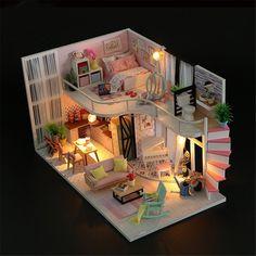 Maison de poupées acajou tables gigognes Miniature 1:12 Living Room Furniture