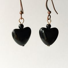 Black Stone Heart Earrings by VexedUpBoutique on Etsy Heart Earrings, Drop Earrings, Stone Heart, Jewelry Design, Unique Jewelry, Wire Art, Chainmaille, Semi Precious Gemstones, Czech Glass