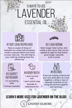 Many people know about diffusing lavender essential oil at bedtime, so I wanted to think of some new and creative ways to use lavender. So here we go: in no particular order: top ten uses for lavender essential oil. Essential Oils For Hair, Geranium Essential Oil, Essential Oil Diffuser Blends, Doterra Essential Oils, Young Living Essential Oils, What Is Essential Oil, Lemon Essential Oil Benefits, Cedarwood Essential Oil Uses, Lemongrass Essential Oil Uses