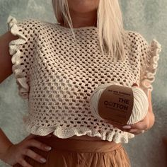 The Pima Cotton Natural - Natural Cotton You are in the right place about s. - The Pima Cotton Natural – Natural Cotton You are in the right place about summer outfits Here we offer you the most beau – - Crochet Crop Top, Crochet Blouse, Easy Crochet, Cotton Crochet, Crochet Summer Tops, Crochet Tops, Easy Knitting Projects, Crochet Projects, Knitting Beginners