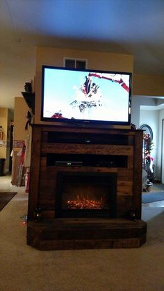 Pallet TV Stand with Faux Fireplace | 101 Pallets