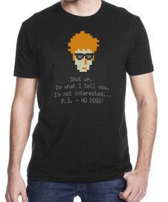 Men's IT Crowd inspired Pixelated Roy Real Bastard by theantianti, $20.00