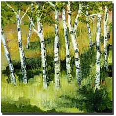 @Overstock - Decorate your home with this natural-looking canvas artwork by Michelle Calkins. The elegant landscape has brushstrokes that accent the contemporary piece. The beautiful square canvas is gallery wrapped, so you won't need a frame.http://www.overstock.com/Home-Garden/Michelle-Calkins-Birch-Trees-Gallery-wrapped-Canvas-Art/4760700/product.html?CID=214117 $55.99