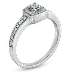 1/5 CT. T.W. Diamond Square Frame Vintage-Style Promise Ring in 10K White Gold - Size 7 - Zales    HINT!!!HINT!!! MJB <3