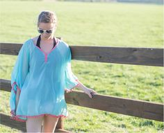 Chiffon Pom-Pom Tunic Swimsuit Cover-Up Embroidery Blanks - AQUA/CORAL