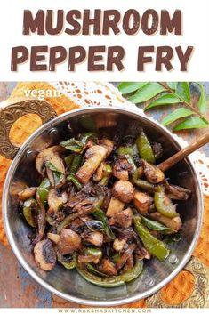 Mushroom pepper fry is a delicious South Indian restaurant style appetizer recipe. This vegetarian mushroom recipe with capsicum is flavoured with black pepper powder. This mushroom pepper stir fry turns hot and spicy and is delicious. Best part is pepper mushroom gets ready in just 20 minutes from start to finish. This best vegan mushroom recipe is easy to make and can be served with rice, rotis or bread. Get step by step pictures to make this delicious appetizer with mushroom. Spicy Mushroom Recipe, Vegetarian Mushroom Recipes, Fried Mushrooms, Stuffed Mushrooms, Stuffed Peppers, Crockpot Recipes, Cooking Recipes, Healthy Recipes, Yummy Appetizers