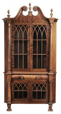 c1890 Colonial Revival corner cabinet, mah, 88t,46w, 13-2,6.