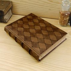 "Large Leather Journal / Blank Book - ""Time Stopped"" in Natural Brown"