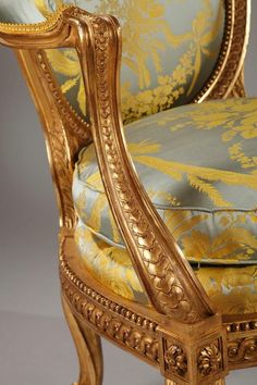 French Charming Children's Gilded Wood Armchair After G. Jacob For Sale Rococo Furniture, Georgian Furniture, Antique French Furniture, Antique Chairs, Classic Furniture, Luxury Furniture, Cool Furniture, Tan Leather Armchair, Velvet Armchair