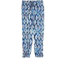 GO SILK Ikat Parachute Pant featuring polyvore women's fashion clothing pants blue cc denim ankle jeans side zipper pants denim pants ankle trousers short pants