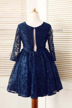 Long Sleeves Navy Blue Lace Flower Girl Dress Baby Girl Toddler Dress Junior Bridesmaid Dress for Wedding - Thumbnail 3