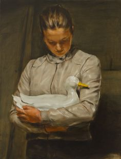 Michael Borremans Girl with Duck 2010 Paintings I Love, Love Painting, Figure Painting, Painting & Drawing, Michael Borremans, Human Art, Portraits, Old Art, Contemporary Paintings