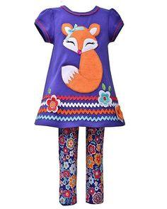 Bonnie Jean Purple FOX Applique Top Floral Leggings set Girls (sz 12m-6x) ~Color Me Happy Boutique #Fall