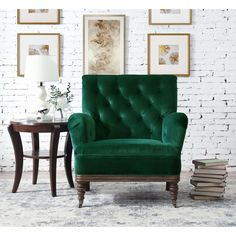 The armchair will be your new favorite place to unwind! This traditional style chair comes in a velvet-like fabric and features button tufting along the back and inner arms. The flared arms and tapered feet complete the look. Home Office Furniture, Glamorous Living Room, Farm House Living Room, Furniture, Green Armchair, Armchair, Accent Chairs, Green Velvet Chair, Living Room Furniture