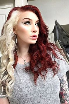 White Streak In Hair, Red Blonde Hair, Dyed Red Hair, Long Red Hair, White Hair, Hair Color Streaks, Red Hair Color, Funky Hair Colors, Red Hair Inspo
