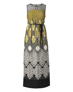 Grazia Border Print Belted Maxi Dress