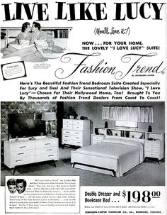 """I Love Lucy"" Bedroom Suite — 1953 (Lucille Ball & Desi Arnaz) Purchase the bedroom suite created especially for Lucy and Desi's TV show and home!"