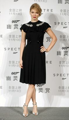 Height of glamour: Léa Seydoux looked lovely in a black dress with frilly sleeves at the S...