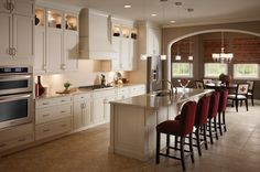 KraftMaid Cabinetry: Maple Square Raised Door In Canvas - traditional - kitchen - detroit - KraftMaid Traditional Kitchen Cabinets, Kitchen Cabinet Styles, Kitchen Cabinetry, Glass Cabinets, Maple Cabinets, Display Cabinets, Traditional Kitchens, Upper Cabinets, Kraftmaid Cabinets