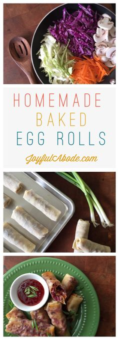 Homemade Baked Egg Rolls - Easy & Quick - These homemade baked egg rolls are a snap to make, and so delicious you'll want to triple the rec - Asian Recipes, Healthy Recipes, Ethnic Recipes, Homemade Chinese Food, Healthy Chinese, Healthy Egg Rolls, Homemade Egg Rolls, Homemade Pancakes, Appetizer Recipes
