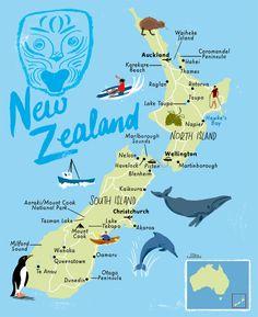 New Zealand map by Scott Jessop. New Zealand map by Scott Jessop. Map Of New Zealand, Moving To New Zealand, New Zealand Itinerary, North Island New Zealand, New Zealand Travel Guide, Travel Maps, Travel List, Travel Posters, New Zealand Adventure