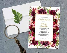 Bridal Shower Invitation Bridal Shower Invitation Template Printable Rustic Bridal Brunch Shower Marsala burgundy violet purple Florals DIY