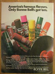 Bonne Bell Lip Smackers, Dr. Pepper, 7 Up, Full Page Vintage Ad