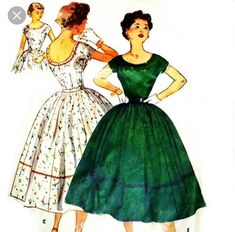 Vintage s Sewing Pattern - Fitted Bodice Full Skirt Rockabilly Dance Dress Scooped Neckline Low Back Kimono Sleeves needs a little tlc - see condition notes Simplicity c Size B Modern Vintage Dress, Vintage Dress Patterns, Clothing Patterns, Vintage Dresses, Vintage Outfits, Vintage Fashion, 50s Vintage, Vintage Clothing, 50s Dresses