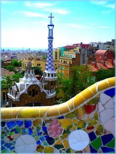 The Park Güell is a very beautiful place, full of colors.