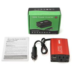 DC 12V to 110V AC 150W Power Inverter Converter with 3.1A Dual USB Charger.