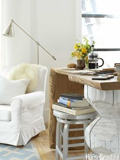 That side table/desk is straight up redonk!!! The natural live edge and painted sculptural form... heart it, bad.