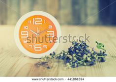 Orange wall clock and Flowers on a wooden table. Vintage Style. Selective focus. - stock photo