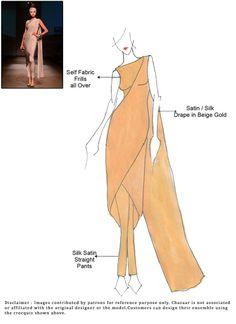 DIY Beige Satin Pant Style Saree