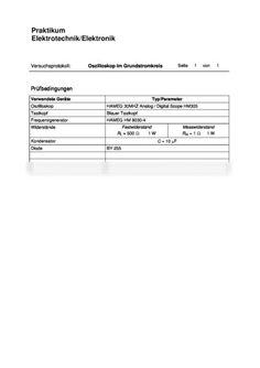 Protokoll zum Labor Elektrotechnik Versuch 2: Oszilloskop, 10: Diode:  Beschreibung der einzelnen Signale und Erläuterung deren Verlaufes Operation, Versuch, Hamburger, Boarding Pass, Travel, Engineering, Housekeeping, Viajes, Destinations