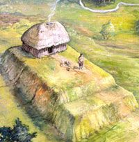 Artist's depiction of a dispersed Caddo settlement in what is today southeastern Arkansas. The house on the rectangular earthen mound in the foreground is that of a chief or shaman; the mound caps the remains of earlier houses of important people. Scattered in the background are family compounds, some with both winter (rectangular) and summer (round) houses as well as raised storage bins where surplus corn was stored. All of the details are based on archeological and historical evidence…