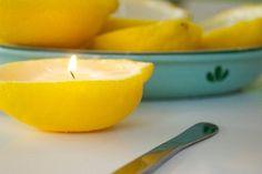 レモンの皮を使ったキャンドルは、天然の香り。