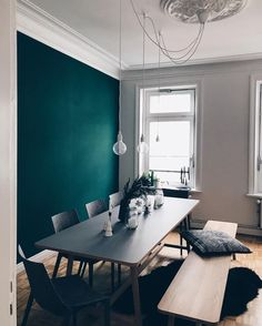 home decor - 5 Dreamy things we love about the new upcoming popular paint shade Night Watch (Daily Dream Decor) Green Dining Room, Dining Room Walls, Living Room Decor, Decor Room, Wall Decor, Teal Living Rooms, Green Kitchen, Living Room Paint, Dining Set