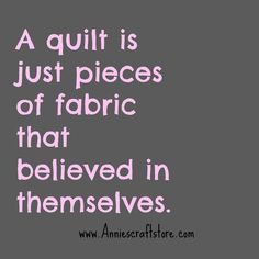 A quilt is just pieces of fabric that believed in themselves.