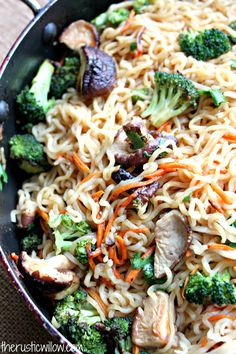ramen vegetable stir fry. this recipe is huge, but like the ease of using with smaller portions, on-hand veggies, and rice ramen noodles.