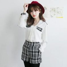 Buy 'Tokyo Fashion – Set: Plaid-Trim Blouse   Shorts ' with Free International Shipping at YesStyle.com. Browse and shop for thousands of Asian fashion items from Taiwan and more!