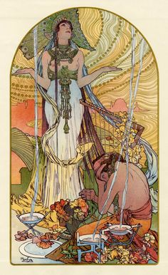 Incantation: Salammbô, by Alphonse Mucha, from L'Estampe Moderne, No.1, May 1897. Colour lithograph