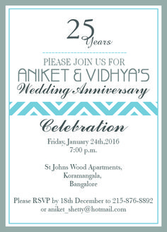 official 25th wedding anniversary invitation from inviteonline