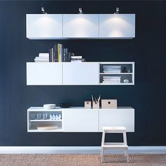 Ikea BESTA for wall storage above the desk.