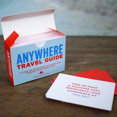 Do you want to challenge yourself to get to know your travel destination in a completely different way? The Anywhere travel guide contains 75 unique cards with funny, unexpected and original assignments to help you do this!