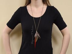 Pheasant Feather Necklace Lady Amherst Red Tip by BijouxMalou