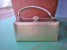 Vintage Gold Box Clutch with Handstrap by PopsCandy on Etsy, $16.00