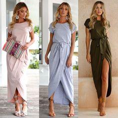 Fashion Women Plus Boho Long Maxi Dress Evening Party Beach Dresses Sundress - Beachie Dress - Beach Dresses, Casual Dresses, Short Sleeve Dresses, Dress Beach, Outfit Beach, Loose Dresses, Ball Gown Dresses, Evening Dresses, Party Dresses