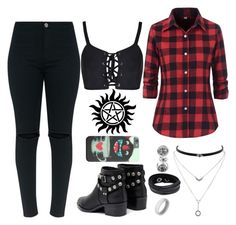 A fashion look from May 2017 featuring red flannel shirt, sexy crop top and high waisted ripped jeans. Cute Emo Outfits, Edgy Outfits, Teen Fashion Outfits, Outfits For Teens, Pretty Outfits, Supernatural Inspired Outfits, Fandom Fashion, Fandom Outfits, Teenager Outfits