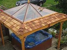 Large clear roof on cedar hot tub gazebo                              …