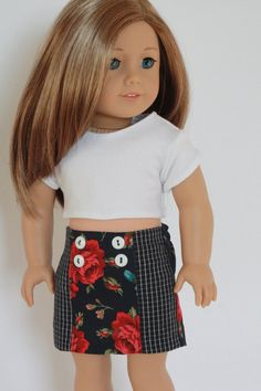 American Girl Doll Clothes Trendy Navy Red Floral by Closet4Chloe, featuring the Design Your Own Skirt Pattern.  Pattern available through PixieFaire.com